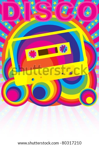 Retro Party Background - Audio Cassette Tape and Disco Sign on Multicolor Background - stock vector