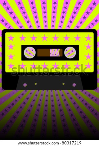Retro Party Background - Audio Cassette Tape on Strips and Stars Background - stock vector