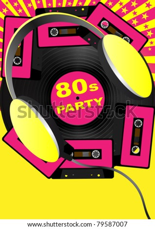 Retro Party Background - Audio Cassette Tapes and Headphones - stock vector
