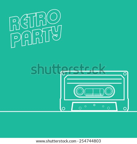 Retro party background in minimalistic style with line art cassette. Suitable for events invitations, concerts, clubs as a poster, leaflet, flyer. Eps10 vector illustration. - stock vector