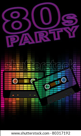 Retro Party Background - Retro Audio Cassette Tapes and Equalizer on Black Background - stock vector