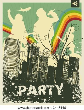 Retro Party City Vector Illustration - stock vector