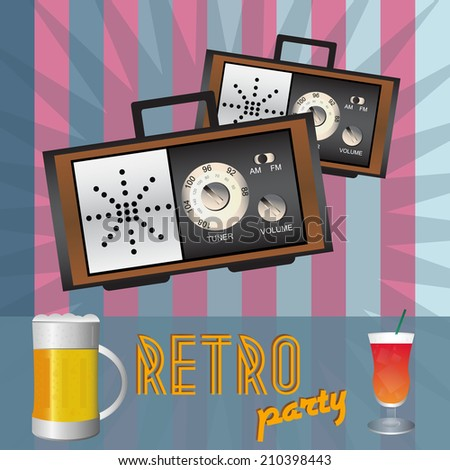 Retro party - drink, beer and two retro radios with old fashioned background - stock vector