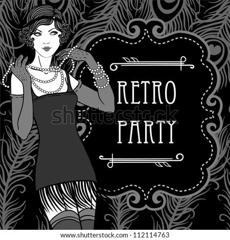 Retro party invitation design - stock vector