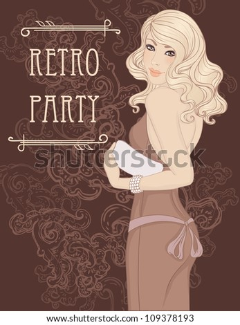Retro party invitation design  (Glamour lady in evening dress holding clutch). Vector illustration. - stock vector