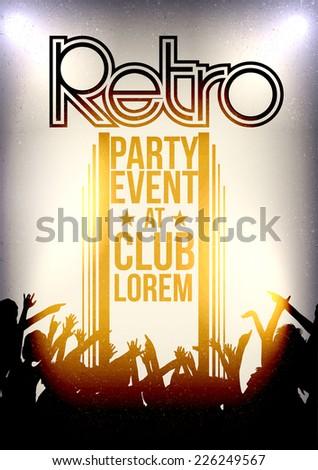 Retro Party Invitation Poster Design - Vector Illustration - stock vector