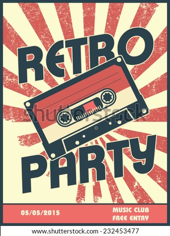 Retro party music poster design with vintage style and equipment. Can be used as flyer, leaflet, cover, advertisement. Eps10 vector illustration - stock vector