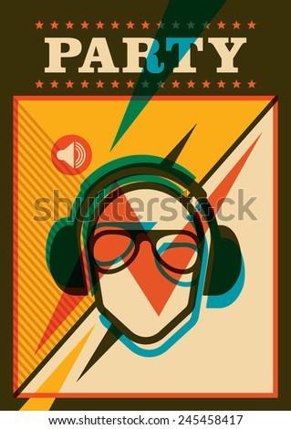 Retro party poster. Vector illustration. - stock vector