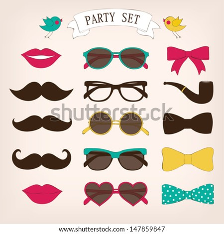 Retro party set - stock vector