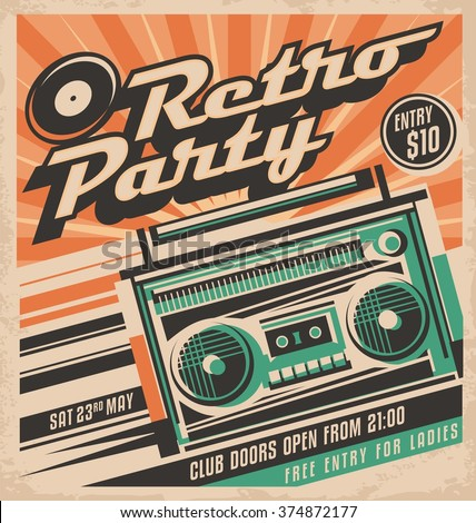 Retro party vector poster design concept. Disco music event at night club, vintage party invitation template. Unique music background theme. Cassette player. - stock vector
