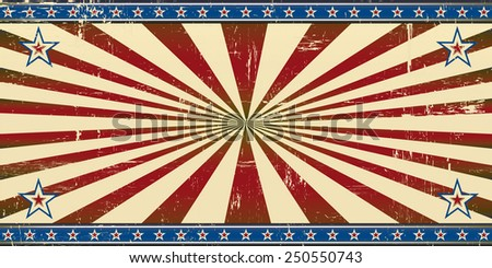 Retro patriotic banner. A retro patriotic banner with a grunge texture for an invitation card's background. - stock vector