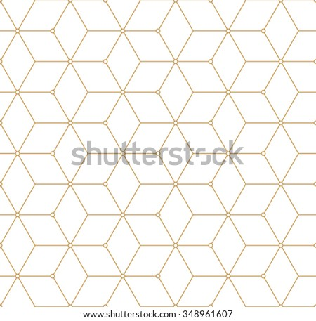 Retro Pattern with Golden Squares. Vector seamless outline background - stock vector