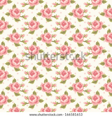 Retro pattern with shabby chic roses on polka dot  background - stock vector