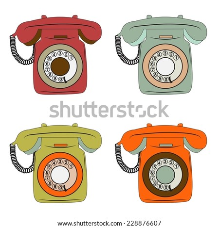 retro phone items set on white, vector illustration - stock vector