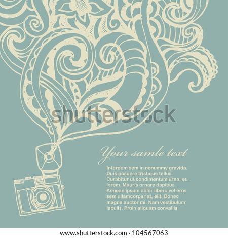 Retro photo camera card - stock vector