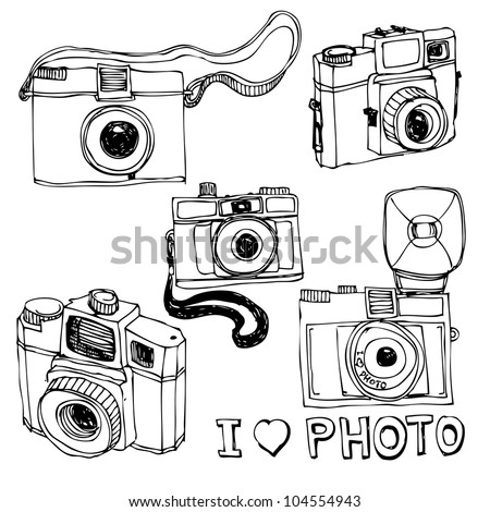 Retro photo camera set in vector - stock vector
