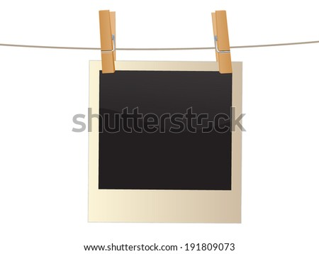 Retro photo frame hanging on a rope held by clothespins, isolated on white background, - stock vector