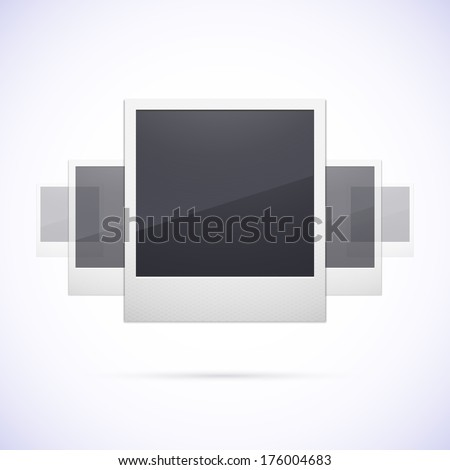 Retro photo frame isolated on white background, polaroid with scrolling effect, vector illustration - stock vector