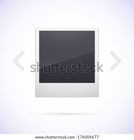 Retro photo frame isolated on white background, with scrolling arrow - stock vector