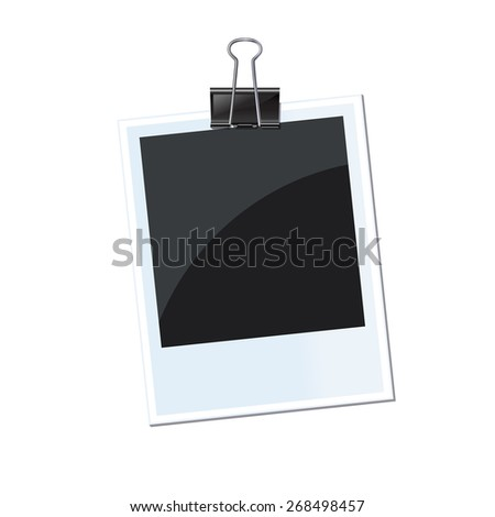 Retro photo frame isolated with fastener 10 eps - stock vector