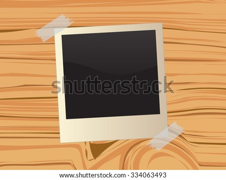 Retro photo frame on wooden background, vector illustration - stock vector