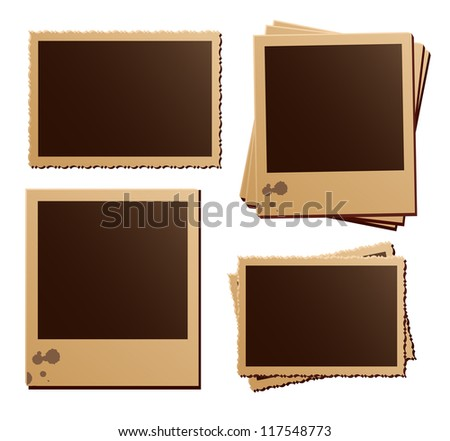 Retro photo frames on white background - stock vector