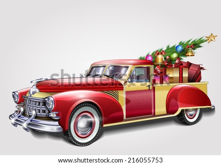 Retro  pickup with Christmas tree and gifts - stock vector