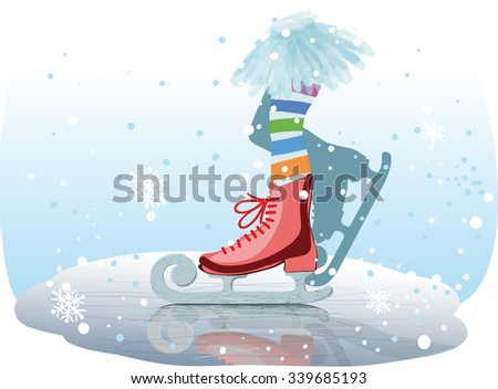 Retro picture on which foot girl who skates on the ice - stock vector
