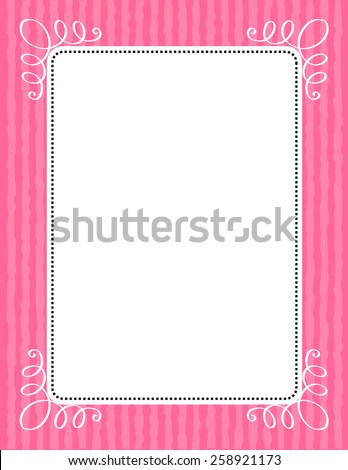 Retro pink wedding invitation/ anniversary background / frame design with swirls and stripes . can be use as wedding , anniversary, valentines day, mother's day party invitation / cards.  - stock vector