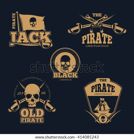 Retro piratical color logo, labels and badges. Old pirate emblem, skull human pirate logo, sword and flag pirate stamp. Vintage vector illustration collection - stock vector