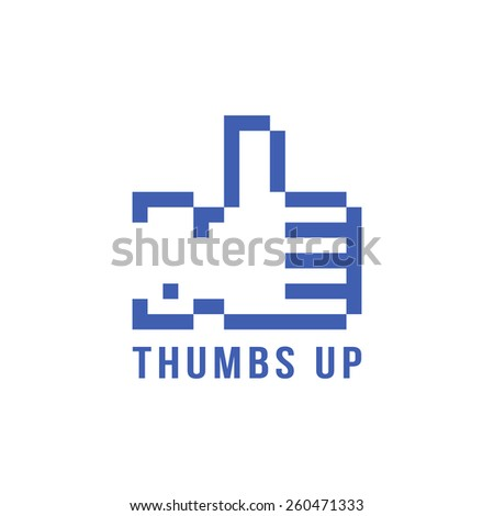 retro pix element thumbs up icon. concept of 8bit video game, networking, blogging, confirmation. isolated on white background. pixelart style trendy modern logotype design vector illustration - stock vector