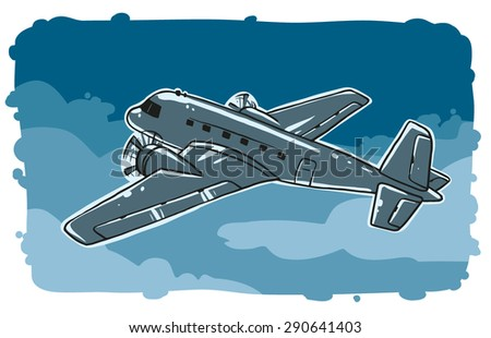 Retro plane in the sky, vector - stock vector