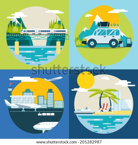 Retro Planning Summer Vacation, Tourism and Journey Symbol Travel Ship Plane Car Train Modern Flat Design Template Vector Illustration - stock vector