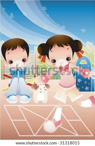 Retro Play Time - enjoying break time with a lovely young girl and a funny boy in the playground on clear sunny day on background with beautiful, bright blue sky and pink field : vector illustration - stock vector