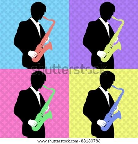 Retro pop art jazz saxophone  silhouette player - stock vector