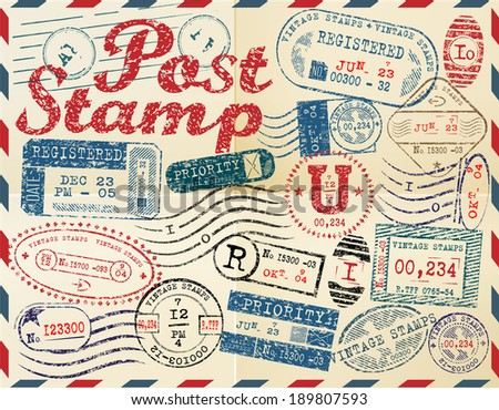 Retro post stamp. Passport Stamps - stock vector