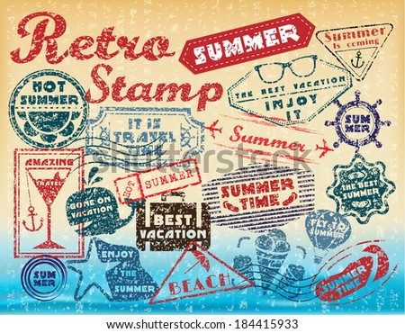 Retro post stamp. Passport Stamps. Stylization stamps summer vacation  - stock vector