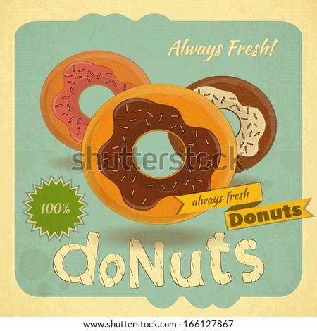 Retro postcard, Cover menu - Donuts on Vintage background. Vector illustration - stock vector