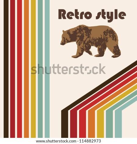 retro poster bear - stock vector