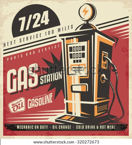 Retro poster design for gas pump. Fuel station, motor oil and gasoline, mechanic on duty, service and repair. Vintage ad with cars and transport theme. - stock vector