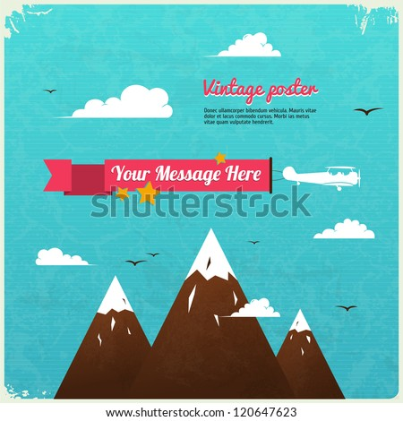 Retro Poster Design with clouds. Vector Illustration. - stock vector