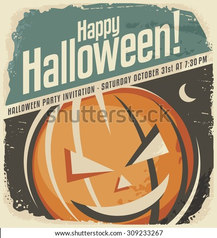Retro poster template with Halloween pumpkin head. Halloween party invitation layout. Creative design concept. Vintage holiday ad on old paper texture. No gradients no effects. - stock vector