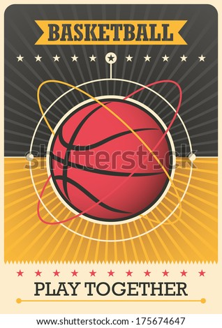 Retro poster with basketball ball. Vector illustration. - stock vector