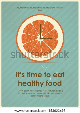 Retro poster with citrus for a healthy lifestyle. Eps 10 - stock vector