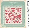 Retro poster with  heart icons, symbols and signs for Valentines day. Vintage card design with set of heart shapes. Old paper vector background. - stock vector