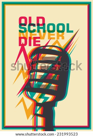 Retro poster with microphone. Vector illustration. - stock vector