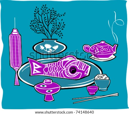Retro Pretty Oriental Seafood Meal Setting Vector Illustration - stock vector