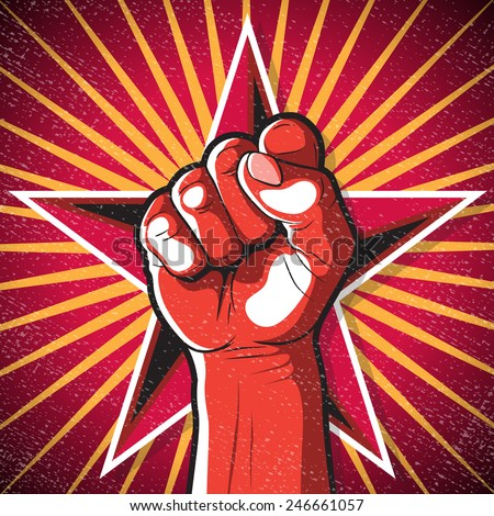 Retro Punching Fist Sign. Great illustration of Russian Propaganda style punching Fist symbolising Revolution.  - stock vector