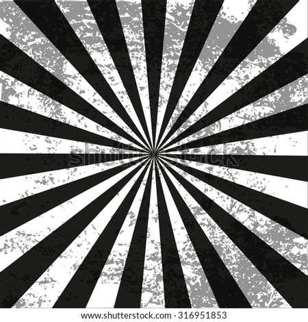 Retro radial background black vintage style  with dirt - stock vector