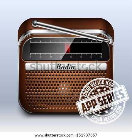 Retro Radio Icon, App Series - stock vector